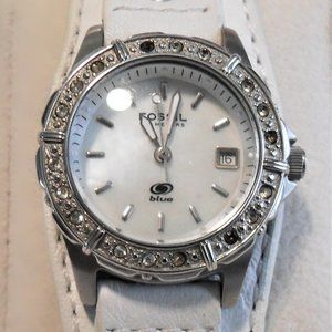 Fossil AM-3788 Crystal Accent White Dial Watch